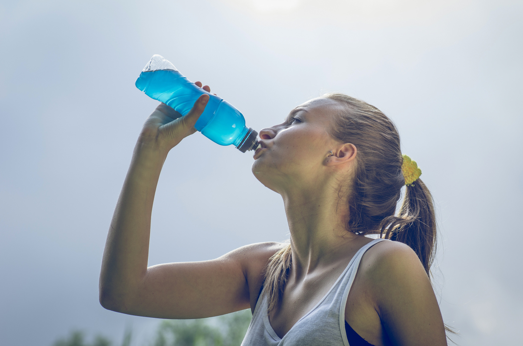 thirsty athlete with power drink
